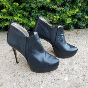 Zara leather booties heels 8